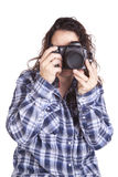Woman taking picture Stock Image
