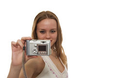 Woman taking a picture Royalty Free Stock Image