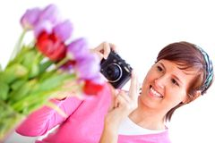 Woman taking a picture Stock Photos