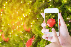 Woman taking picture of christmas decorations Royalty Free Stock Images