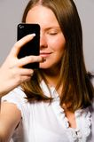 Woman is taking picture of herself Royalty Free Stock Photo