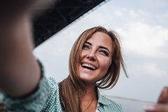 Woman taking picture of herself, selfie Royalty Free Stock Photo