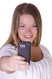 Woman taking  pictures from her cell phone Stock Photo