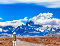 Woman taking pictures of Mount Fitz Roy Royalty Free Stock Photo