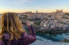 Woman taking pictures in Toledo stock photos