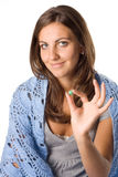 Woman taking pill Stock Photography
