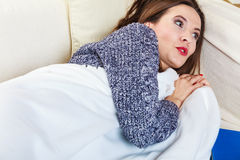 Woman taking power nap after lunch Stock Image