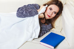 Woman taking power nap after lunch Royalty Free Stock Photos