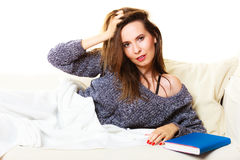 Woman taking power nap after lunch Stock Photography