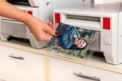 Woman taking a print of a woman from a printer. Woman taking a colored photographic print of a smiling pretty woman from a printer in a close up view of her hand stock photos