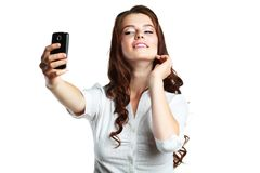 Woman taking self picture Royalty Free Stock Images