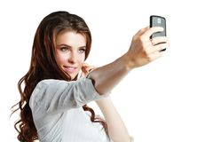 Woman taking self picture Stock Photo