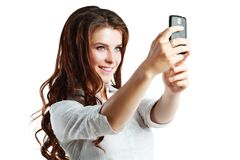 Woman taking self picture Stock Photos