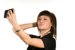 Woman taking self portrait Royalty Free Stock Photo