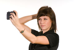 Woman taking self portrait Stock Images