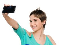 Woman Taking Self Portrait with Phone Camera Stock Photo