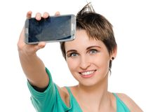 Woman Taking Self Portrait with Phone Camera Stock Image
