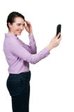 Woman taking a selfie Stock Photo