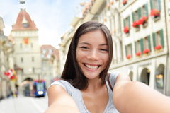Woman taking selfie in Bern Switzerland Stock Photos