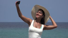 Woman Taking Selfie At Ocean stock video