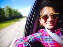 Woman Taking Selfie Passenger Car Alberta stock photo