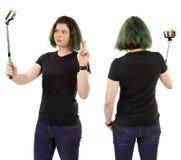 Woman taking selfie and wearing blank black shirt Royalty Free Stock Photos