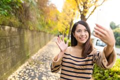 Woman taking selife with cellphone at street with ginkgo tree Royalty Free Stock Photography