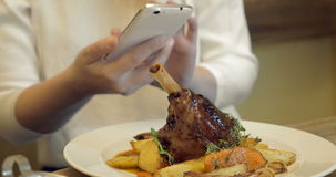 Woman taking shot of delicious restaurant dish stock video