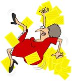 Woman Taking A Slip. This illustration depicts a woman in a red dress slipping and throwing yellow papers in the air Royalty Free Stock Photos