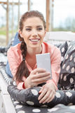 Woman taking smartphone selfie photo Royalty Free Stock Images