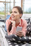 Woman taking smartphone selfie photo Stock Photos