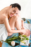 Woman taking spa procedures Royalty Free Stock Image