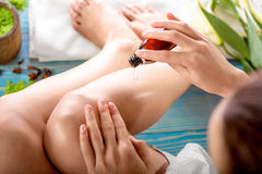 Woman taking spa procedures Royalty Free Stock Photo