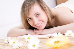 Woman taking spa treatment royalty free stock image