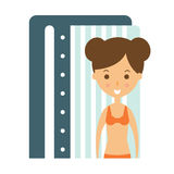Woman Taking Tan In Solarium Cabin To Prepare For Sunbathing, Part Of Summer Beach Vacation Series Of Illustrations. Seaside Holidays Related Infographic Icon Stock Photo