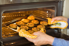 Woman taking tray of fresh cookies out of oven Royalty Free Stock Photo