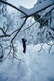 Woman taking winter photos stock photo