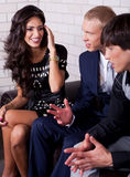 Woman talk with friends. At night club Royalty Free Stock Photos