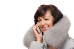 Woman talk with mobile phone Stock Images