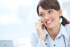 Woman talk  the phone Stock Photo