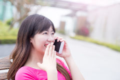 Woman talk on phone Royalty Free Stock Photography