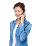 Woman talk to cell phone Royalty Free Stock Photo