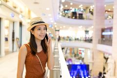 Woman talk to cellphone. Asian young woman Stock Images