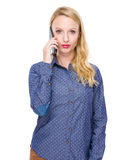 Woman talk to cellphone Royalty Free Stock Image