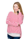 Woman talk to cellphone Stock Photography
