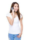 Woman talk to cellphone Stock Image