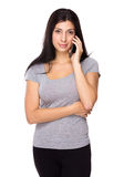 Woman talk to cellphone Royalty Free Stock Photos