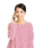 Woman talk to mobile Stock Photography