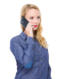 Woman talk to mobile Stock Photo
