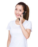Woman talk to mobile phone Royalty Free Stock Image